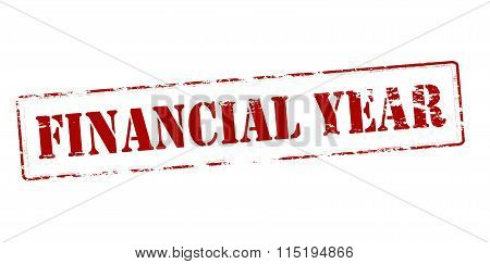 Rubber stamp with text financial year inside vector illustration