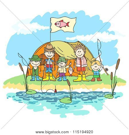 Happy family weekend doodle vector. Family week-end with fishing on the lake