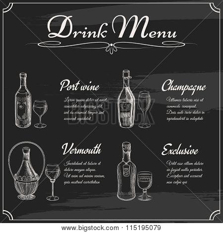 Drink menu elements on chalkboard