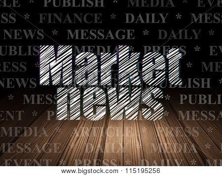 News concept: Market News in grunge dark room