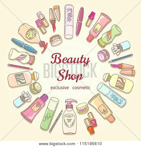Beauty shop cosmetic label doodle vector frame