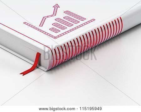 News concept: closed book, Growth Graph on white background