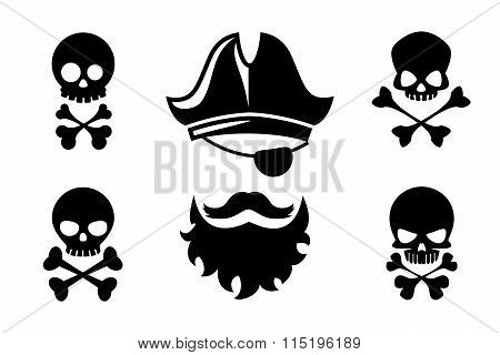 Pirate head vector icons with skull and crossed bones