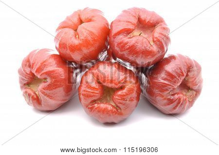 Rose Apples Over White Background