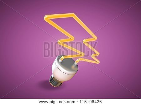 Energy Saver Light Bulb Forms Shape Of Lightening Bolt