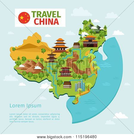 China travel vector map with traditional Chinese landmarks