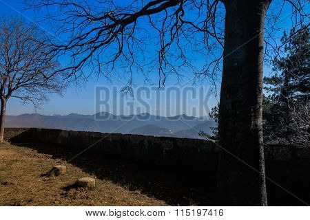 Winter lanscape with blue sky and mountains.