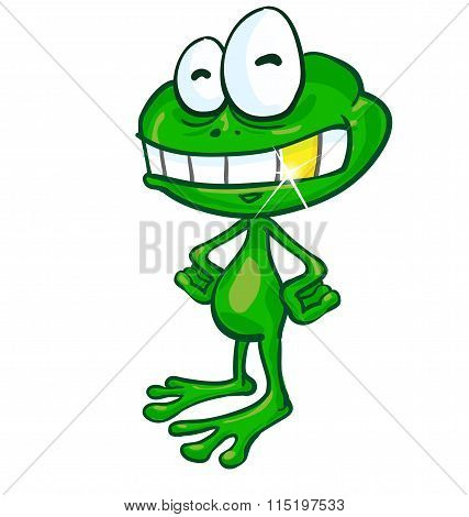 Fun Frog Cartoon With Gold Tooth On White Background