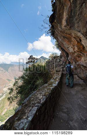 Backpacker Exploring Inca Trail At Machu Picchu, Peru