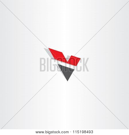 Red Black Letter V Logo Logotype V Icon