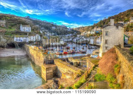 English south west coast fishing village Polperro Cornwall England with houses in HDR
