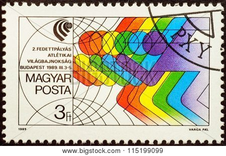 Symbolic Image Of Running Athletes On Postage Stamp