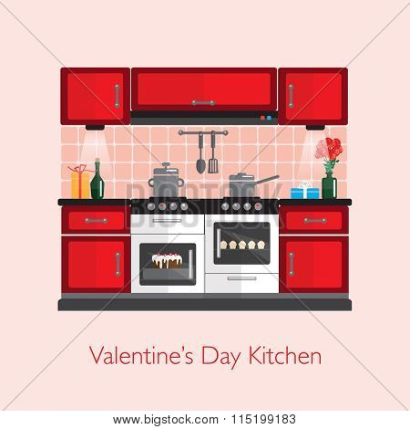 Valentine Kitchen with gifts, champagne, flowers and cakes. Flat style kitchen design during the festive season. ESP10 vector format