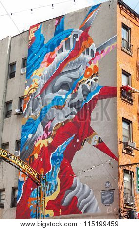 Mural Art Liberty By Tristan Eaton In Little Italy