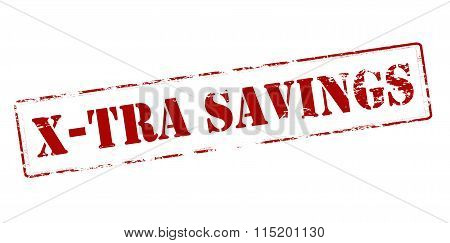 Rubber stamp with text xtra savings inside vector illustration