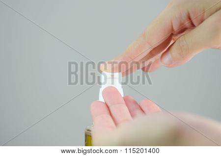 Putting Cleansing Oil On The Hand