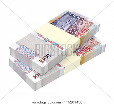 Haitian gourde bills isolated on white background. Computer generated 3D photo rendering.