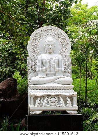 A bas-relief sculpture of White Buddha