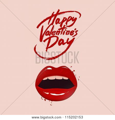 Valentine's Day Greeting Card, Red Lips And Brush Pen Lettering, Vector Illustration