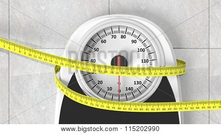 Bathroom scale with measuring tape closeup on bathroom floor