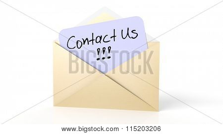Open yellow envelope with Contact Us note, isolated on white.
