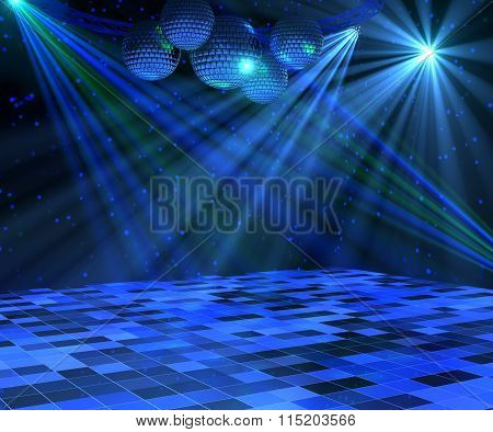 Blue disco dance floor