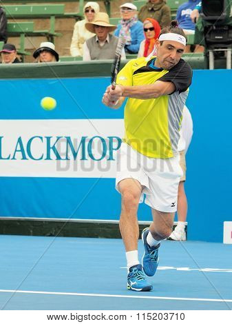 Marcos Bahdatis backhand and ball