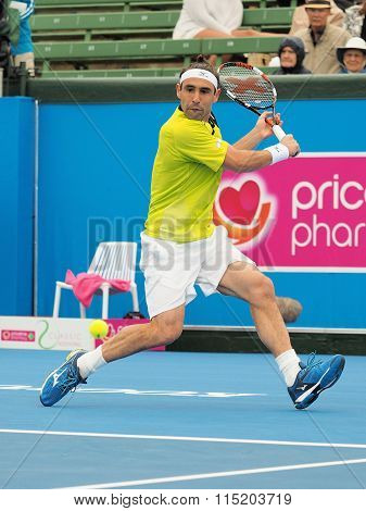 Marcos Bahdatis wound up for a backhand