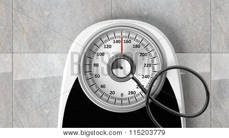 Bathroom scale with stethoscope, closeup on bathroom floor