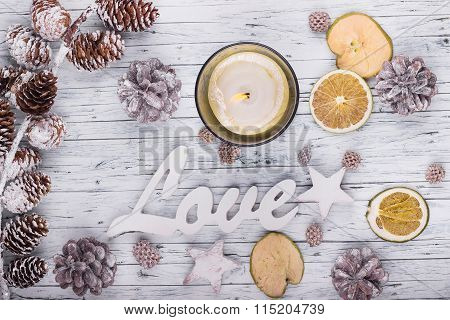 Wood Love Sign And Christmas Decoration
