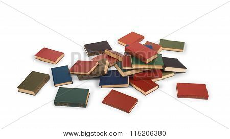 Scattered Book On The Floor Isolated On White Background