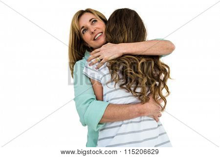 Mother comforting her daughter and gave her a hug