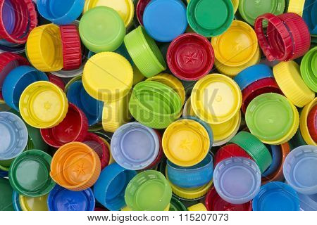 Colorful plastic caps ready for recycling