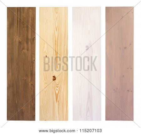 Wooden planks in different colors isolated on white background