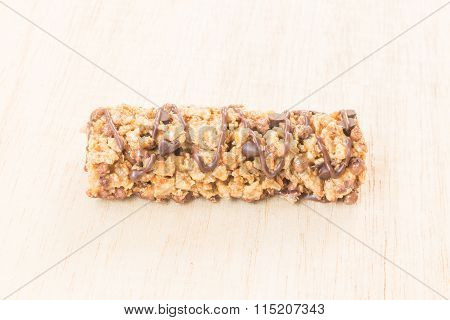 Cereal bars with wheat whole grain and chocolate