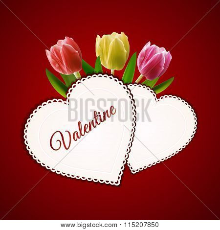 Valentine Heart Cards And Tulips