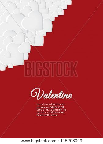 Valentine Red Card With White Hearts