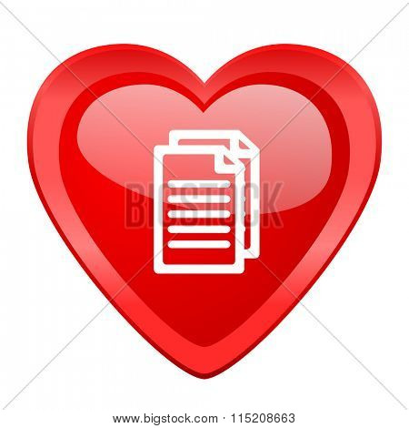 document red heart valentine glossy web icon