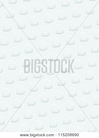 White 3D Hearts On White Background