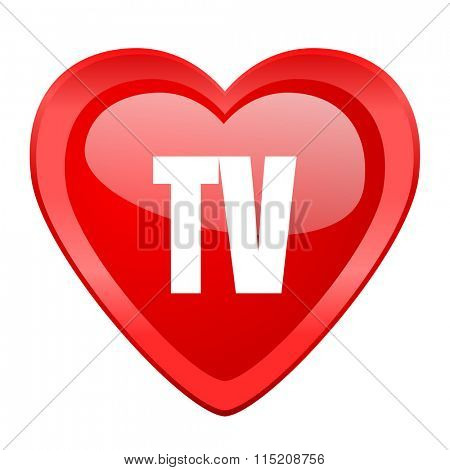 tv red heart valentine glossy web icon