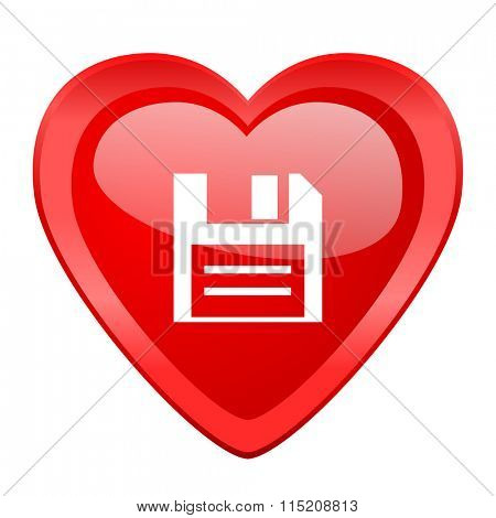 disk red heart valentine glossy web icon