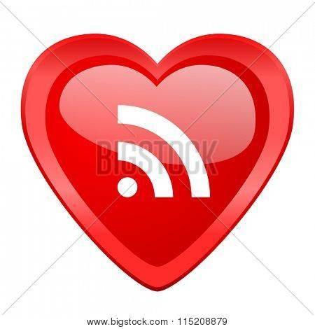 rss red heart valentine glossy web icon