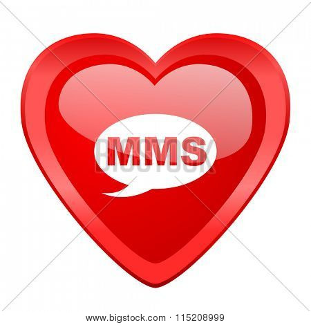 mms red heart valentine glossy web icon