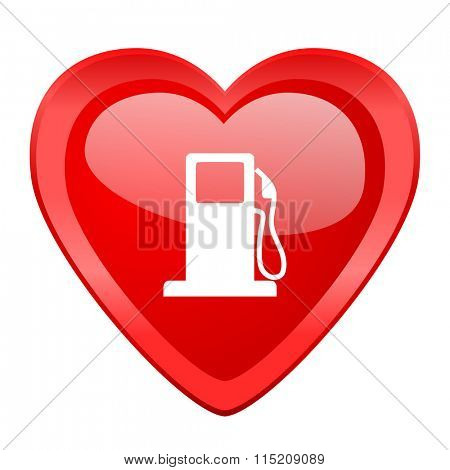 petrol red heart valentine glossy web icon