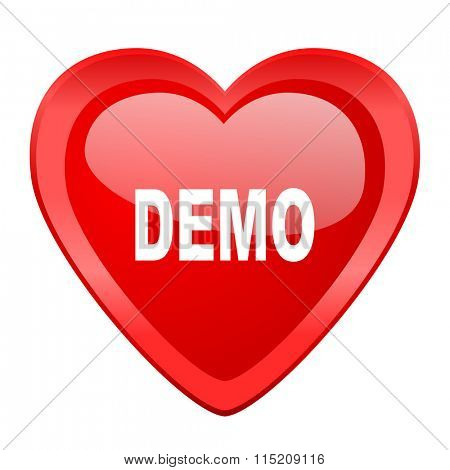 demo red heart valentine glossy web icon