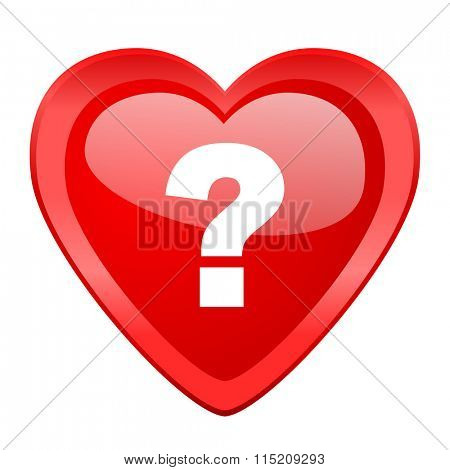 question mark red heart valentine glossy web icon