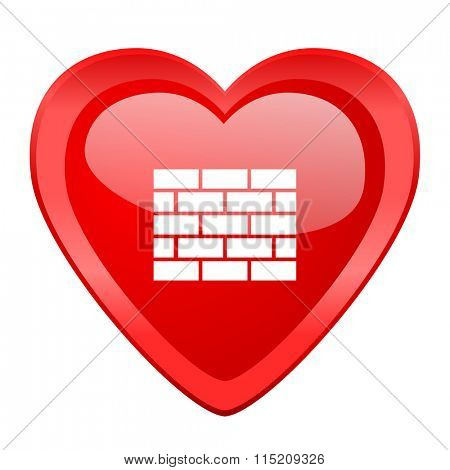 firewall red heart valentine glossy web icon