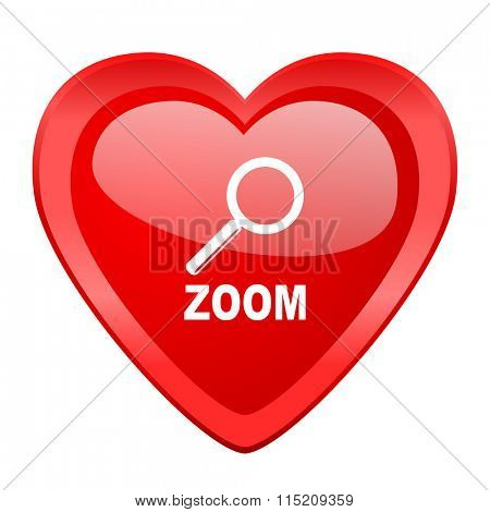 zoom red heart valentine glossy web icon