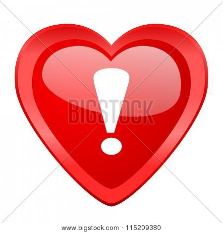 exclamation sign red heart valentine glossy web icon