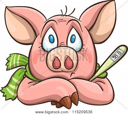 Ailing Cartoon Pig